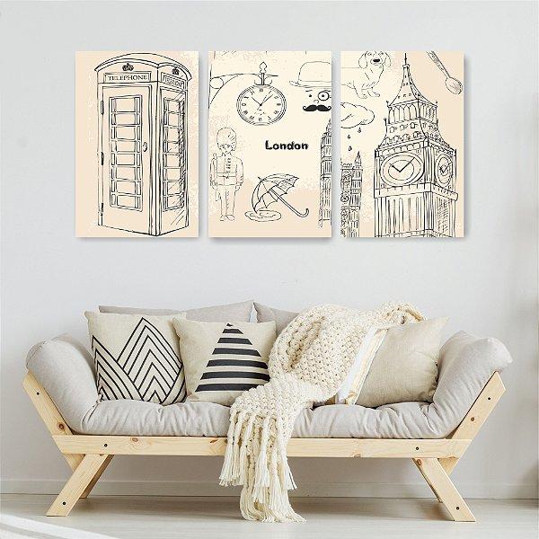 Quadro Decorativo Londres 3P Sem Moldura 115x57 Sala Quarto