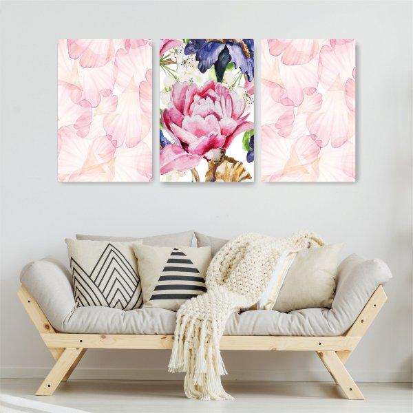 Quadro Decorativo Flor Rosa 3P Sem Moldura 115x57 Sala Quarto