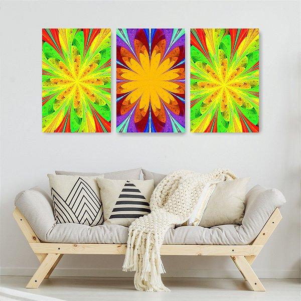 Quadro Decorativo Abstrato Vede E Roxo 3P Sem Moldura 115x57 Sala Quarto