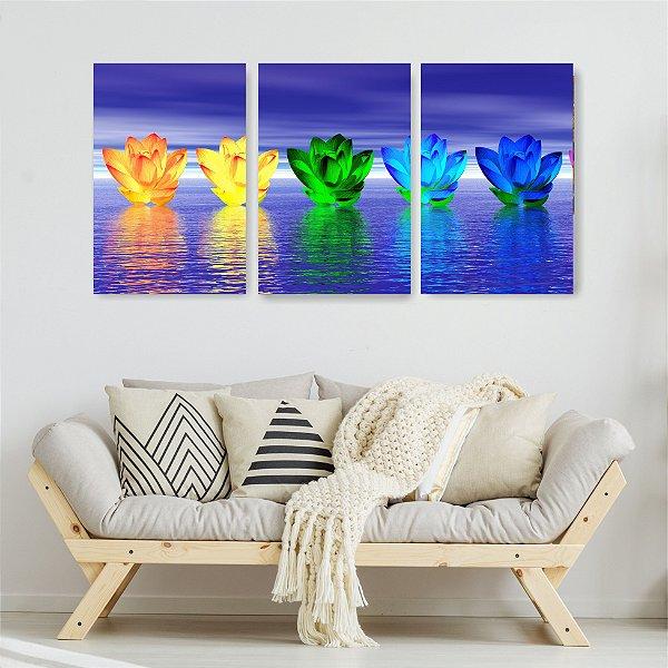 Quadro Decorativo Luz De Rosa Na Água 3P Sem Moldura 115x57 Sala Quarto