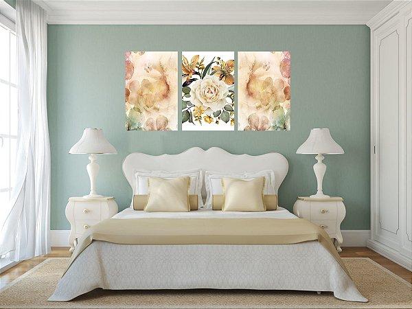 Quadro Decorativo Flor Grande 3P Sem Moldura 115x57 Sala Quarto