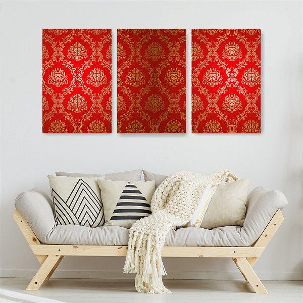 Quadro Decorativo Vermelho Real 3P Sem Moldura 115x57 Sala Quarto