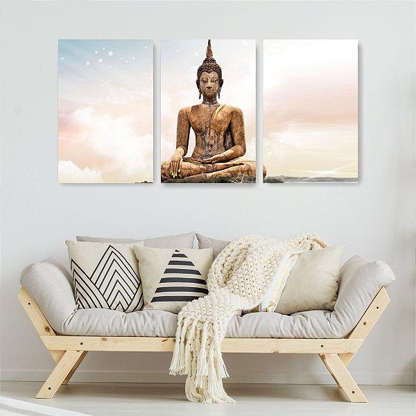 Quadro Decorativo Budismo 3P Sem Moldura 115x57 Sala Quarto