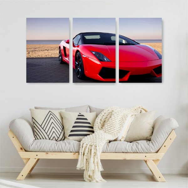 Quadro Decorativo Carro Vermelho 3P Sem Moldura 115x57 Sala Quarto
