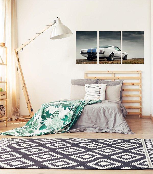 Quadro Decorativo Carro Branco Listra Azul 3P Sem Moldura 115x57 Sala Quarto