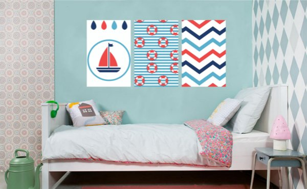 Quadro Decorativo Bóia Listras Barco 3P Sem Moldura 115x57 Sala Quarto
