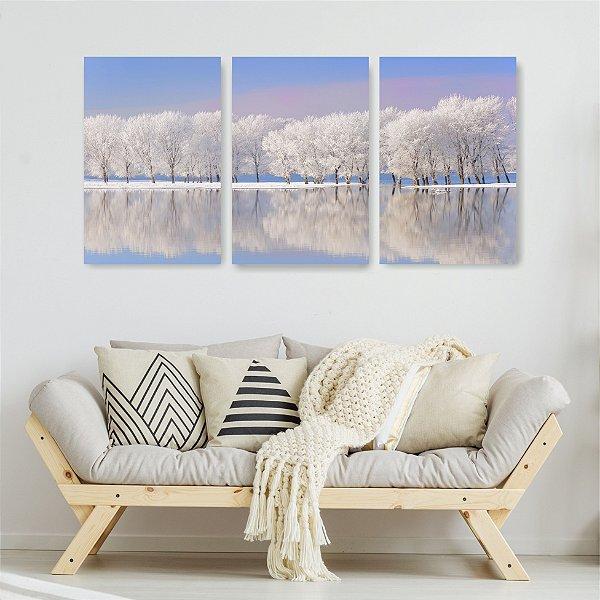 Quadro Decorativo Árvore Nevadas 3P Sem Moldura 115x57 Sala Quarto