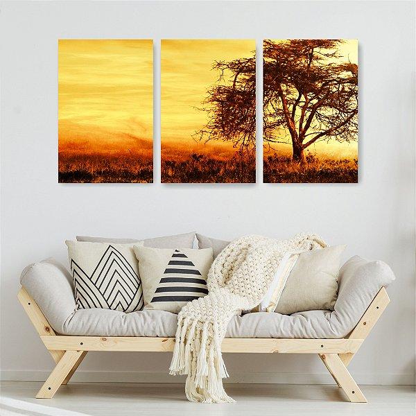 Quadro Decorativo Árvore Ao Entardecer 3P Sem Moldura 115x57 Sala Quarto