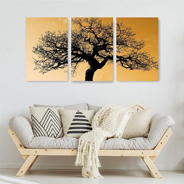 Quadro Decorativo Árvore Com Galhos E Folhas 3P Sem Moldura 115x57 Sala Quarto