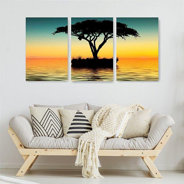 Quadro Decorativo Árvore No Meio Do Mar 3P Sem Moldura 115x57 Sala Quarto