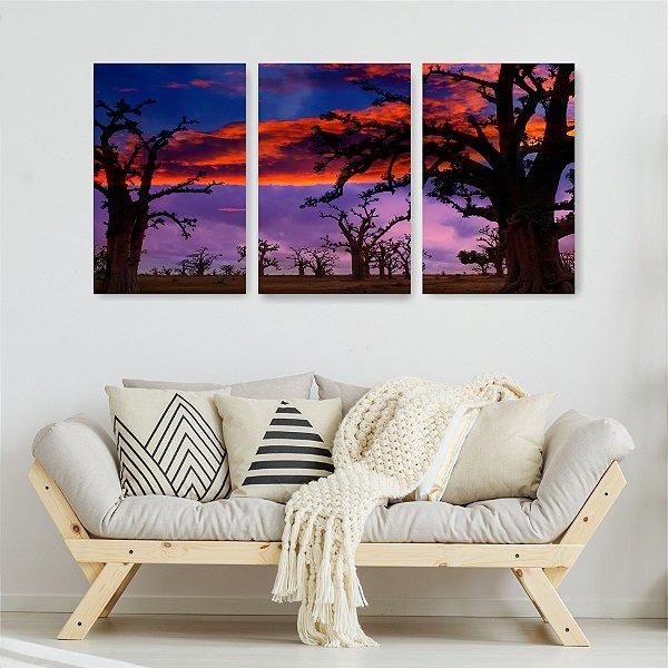 Quadro Decorativo Árvore Sem Folhas 3P Sem Moldura 115x57 Sala Quarto