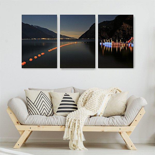 Quadro Decorativo Lago Com Bóias 3P Sem Moldura 115x57 Sala Quarto