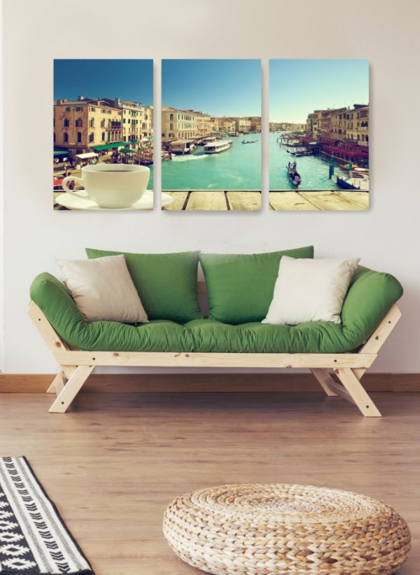 Quadro Decorativo Café Em Veneza 3P Sem Moldura 115x57 Sala Quarto
