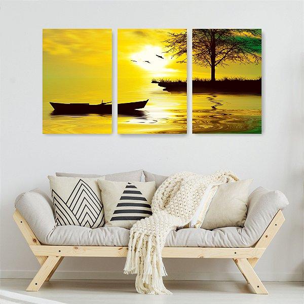 Quadro Decorativo Árvore E Barco 3P Sem Moldura 115x57 Sala Quarto