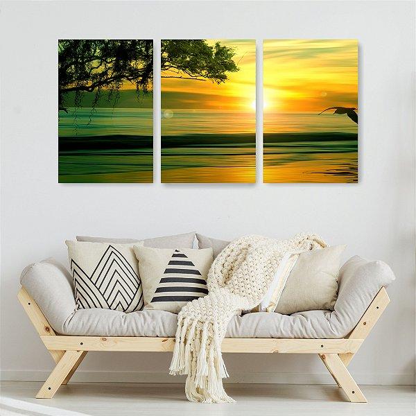 Quadro Decorativo Linda Paisagem Do Sol 3P Sem Moldura 115x57 Sala Quarto