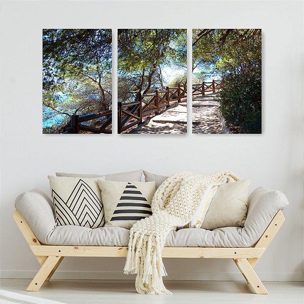 Quadro Decorativo Escada Praia 3P Sem Moldura 115x57 Sala Quarto