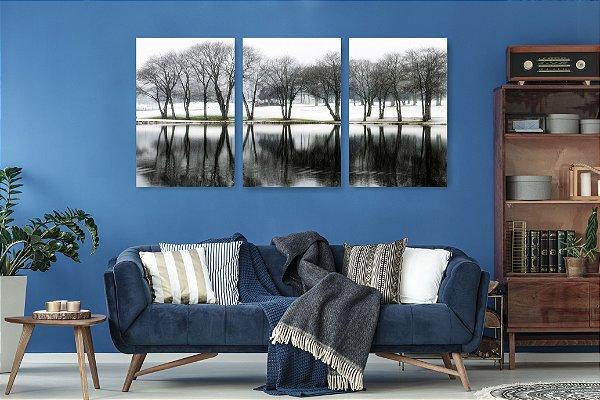 Quadro Decorativo Árvores Nevadas Lago 3P Sem Moldura 115x57 Sala Quarto