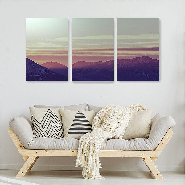 Quadro Decorativo Montanhas E Nuvens Com Raio De Sol 3P Sem Moldura 115x57 Sala Quarto