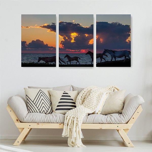 Quadro Decorativo Cavalos 3P Sem Moldura 115x57 Sala Quarto