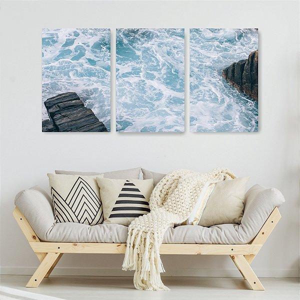 Quadro Decorativo Mar De Águas Claras 3P Sem Moldura 115x57 Sala Quarto