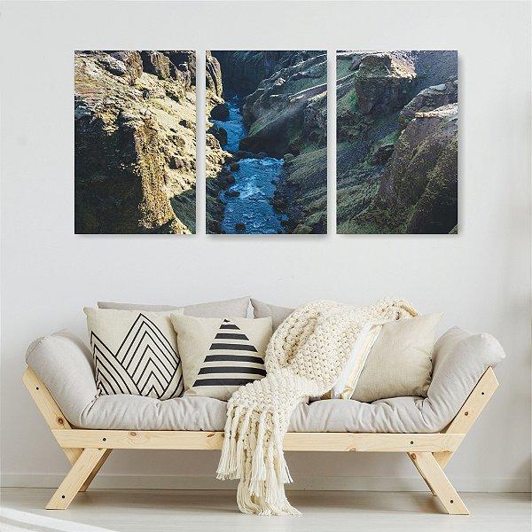 Quadro Decorativo Montanhas E Rio Ao Meio 3P Sem Moldura 115x57 Sala Quarto