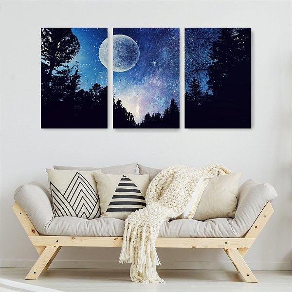 Quadro Decorativo Luar Brilhante 3P Sem Moldura 115x57 Sala Quarto