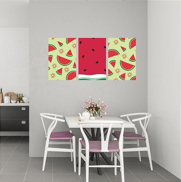 Quadro Decorativo Melancia 3P Sem Moldura 115x57 Sala Quarto