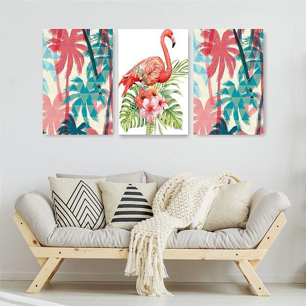 Quadro Decorativo Flamingos E Palmeiras 3P Sem Moldura 115x57 Sala Quarto