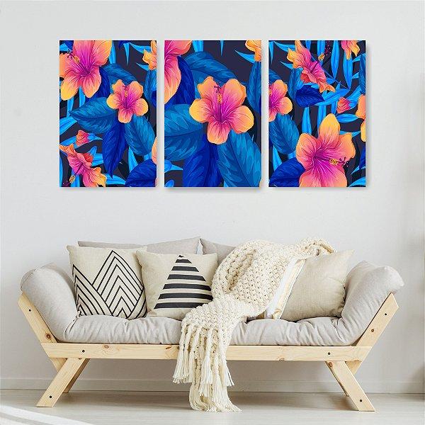 Quadro Decorativo Flor Laranja Fundo Azul 3P Sem Moldura 115x57 Sala Quarto