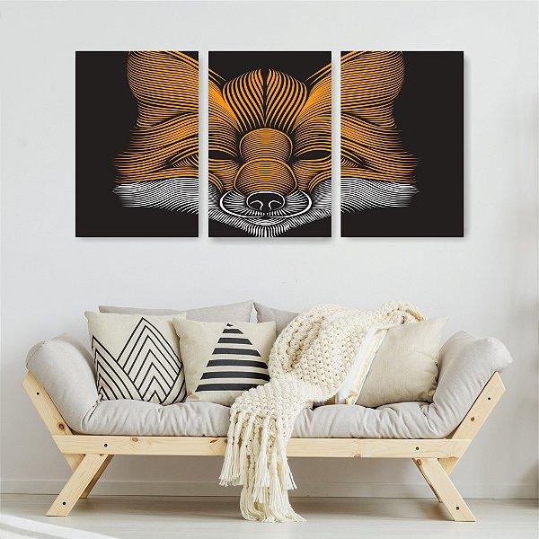 Quadro Decorativo Fox Face 3P Sem Moldura 115x57 Sala Quarto