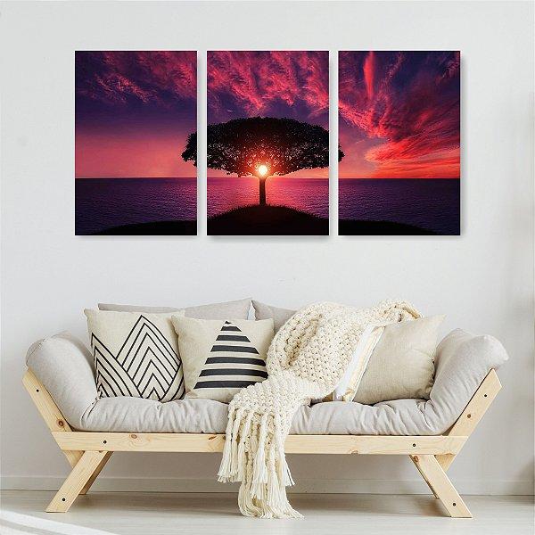 Quadro Decorativo Árvore Ao Pôr Do Sol 3P Sem Moldura 115x57 Sala Quarto