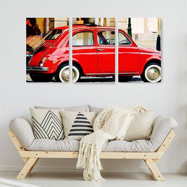 Quadro Decorativo Carrinho Vermelho 3P Sem Moldura 115x57 Sala Quarto