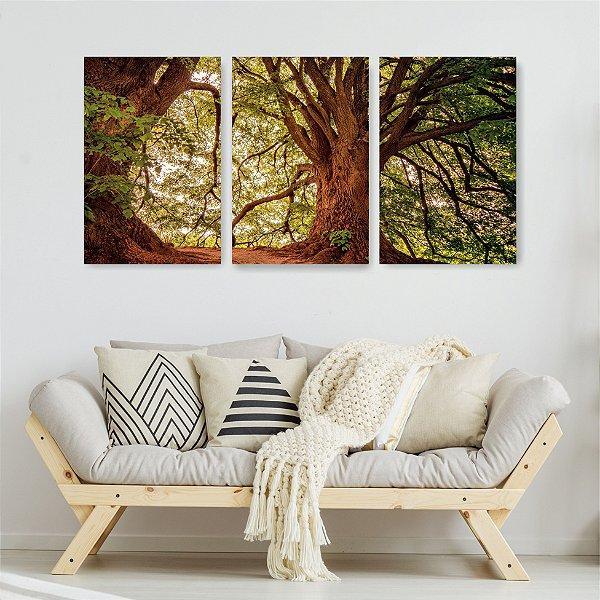 Quadro Decorativo Árvore Natureza 3P Sem Moldura 115x57 Sala Quarto