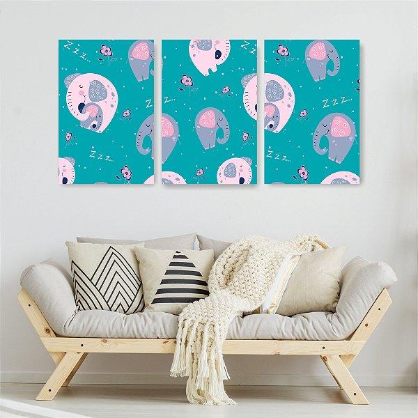 Quadro Decorativo Elefante Rosa 3P Sem Moldura 115x57 Sala Quarto