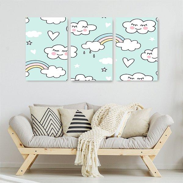 Quadro Decorativo Arco Iris e Nuvem 3P Sem Moldura 115x57 Sala Quarto