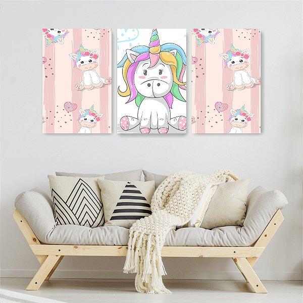 Quadro Decorativo Unicórnio Baby 3P Sem Moldura 115x57 Sala Quarto