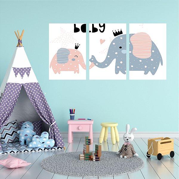 Quadro Decorativo Elefantes Mãe e Filho 3P Sem Moldura 115x57 Sala Quarto