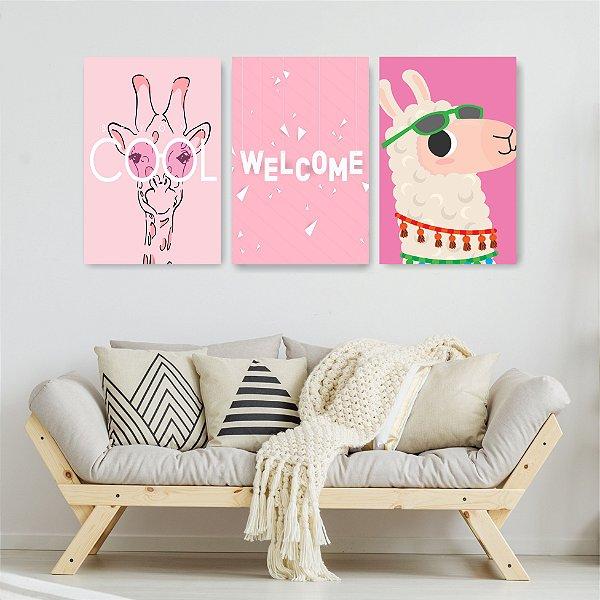 Quadro Decorativo Cool Lhama e Girafa 3P Sem Moldura 115x57 Sala Quarto