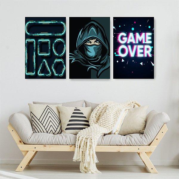 Quadro Decorativo Game Over 3P Sem Moldura 115x57 Sala Quarto