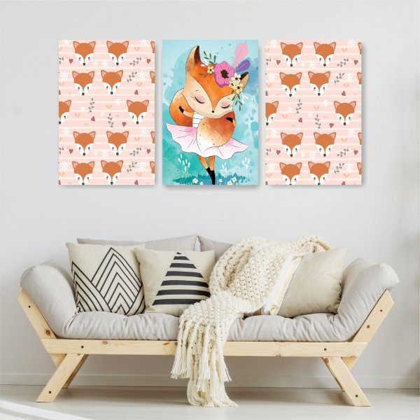 Quadro Decorativo Fox Girl 3P Sem Moldura 115x57 Sala Quarto