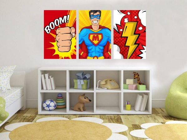 Quadro Decorativo Cartoon Super Man 3P Sem Moldura 115x57 Sala Quarto