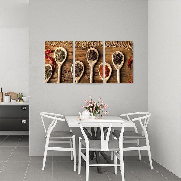 Quadro Decorativo Colheres De Especiarias 3P Sem Moldura 115x57 Sala Quarto