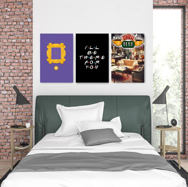 Quadro Decorativo I'll Be There For You 3P Sem Moldura 115x57 Sala Quarto