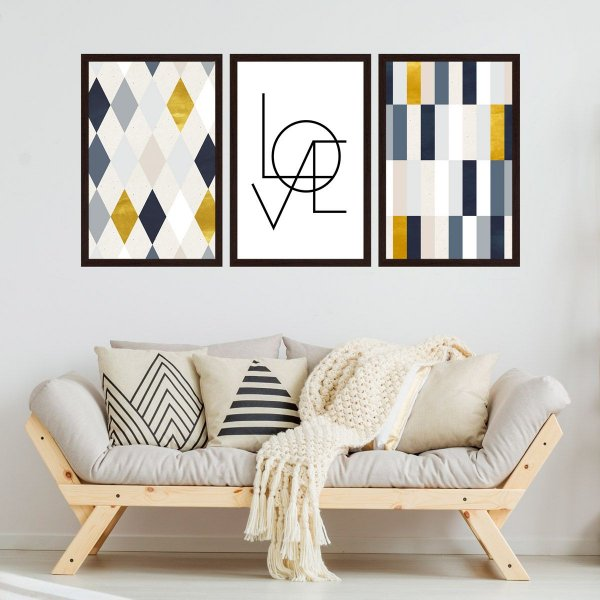 Quadro Decorativo Love 3P 124x60 Sala Quarto