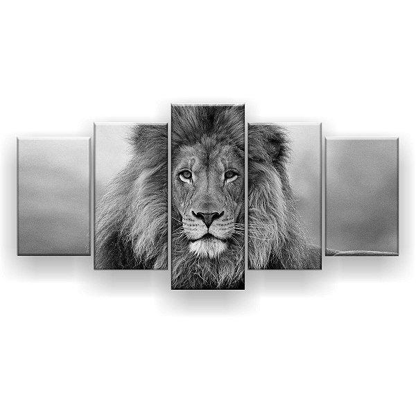 Quadro Decorativo Leão Preto e Branco 129x61 5pc Sala
