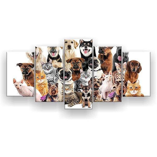 Quadro Decorativo Cães E Gatos Pets 129x61 5pc Sala