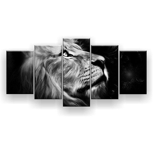 Quadro Decorativo Leão Perfil Preto Branco Hd 129x61 Quarto Sala