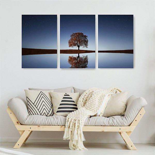 Quadro Decorativo Árvore Noite 3P Sem Moldura 115x57 Sala Quarto