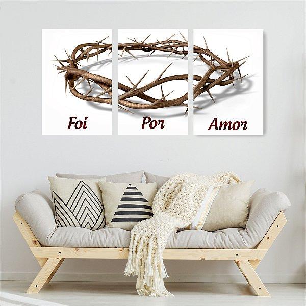 Quadro Decorativo Foi Por Amor 3P Sem Moldura 115x57 Sala Quarto
