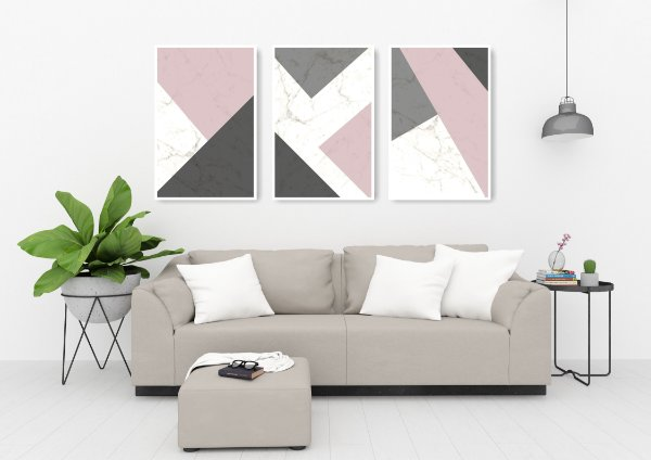 Quadro Decorativo Abstrato Rose 115x57 Sala Quarto